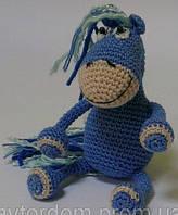 Детская Игрушка Лошадка Синяя, вязаная крючком.