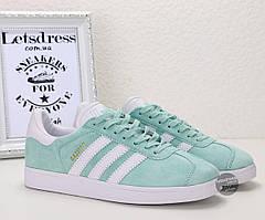 Кроссовки-кеды женские Adidas Gazelle Mint оригинал   Адидас Газель женские мятные