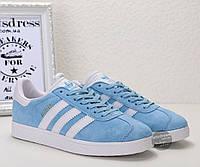 Кроссовки-кеды женские Adidas Gazelle Light Blue оригинал | Адидас Газель женские голубые, фото 1