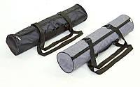 Сумка для йога коврика Yoga bag FI-5153 (нейлон, р-р 16 х 70см, черный, серый)