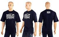 Футболка спортивная EVERLAST CO-3767-2 черный (х-б, р-р M-XL)