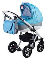 Универсальная коляска 2в1 Adamex Erika Кожа 87L синий(меланж)-серый
