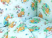Постельное белье в детскую кроватку Зеленые мишки, пчелки