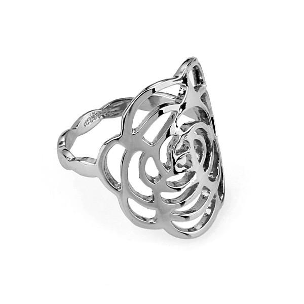 Кільце CHANEL Silver Rose ювелірна біжутерія з покриттям родій