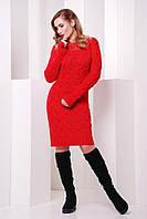 Вязаное женское коралловое платье LILU FashionUp 42-48 размеры