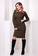 Вязаное женское коричнево-зеленое платье LILU FashionUp 42-48 размеры