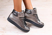 Кожаные ботинки спортивного стиля на шнурках. Синий. Серебро