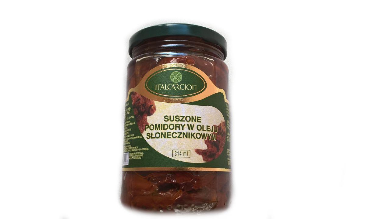 """Вяленые помидоры томаты в подсолнечном масле """"Italcarciofi"""" в стеклянной таре."""