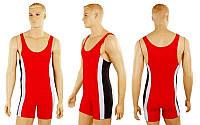 Трико для борьбы и тяжелой атлетики, пауэрлифтинга UR RG-4262-R красный (бифлекс, р-р RUS-40-50)