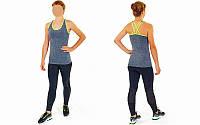 Майка для фитнеса и йоги CO-J1525-1 (лайкра, р-р M-L-40-48, черный-салатовый)