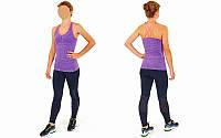 Майка для фитнеса и йоги CO-J1525-2 (лайкра, р-р M-L-40-48, фиолетовый-коралловый)