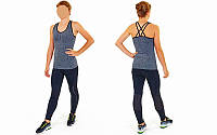 Майка для фитнеса и йоги CO-J1525-3 (лайкра, р-р M-L-40-48, серый-черный)