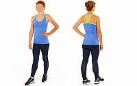 Майка для фитнеса и йоги CO-J1525-4 (лайкра, р-р M-L-40-48, синий-салатовый)