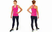 Майка для фитнеса и йоги CO-J1525-5 (лайкра, M-L-40-48, малиновый-малиновый)