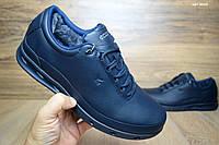 Зимние мужские туфли ECCO GoreTex мех кожа синие кожаные