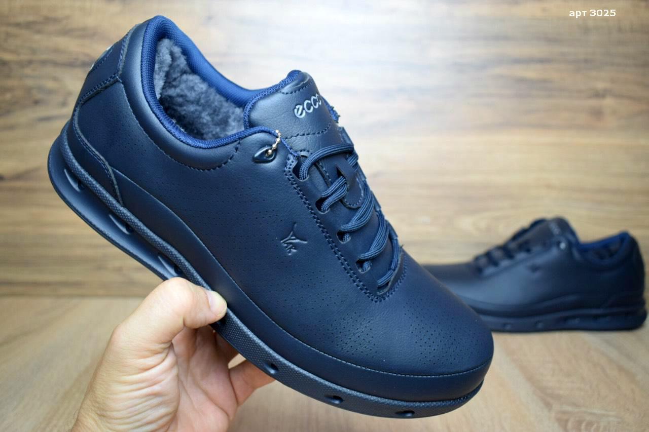 Зимние мужские туфли ECCO GoreTex мех кожа синие кожаные реплика (реальные  фото) - nikestep e5518e6a233