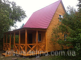 Дачный домик 6м х 6м из блокхауса с мансардой