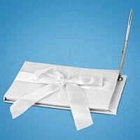 Книга пожеланий атласная белая с белым бантом и ручкой