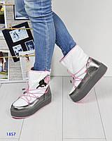 Стильные ботинки, луноходы MOON BOOT белого цвета с вышивкой розы