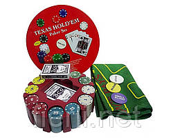 Покерный набор на 240 фишек с номиналом в круглой металлической коробке №240Т