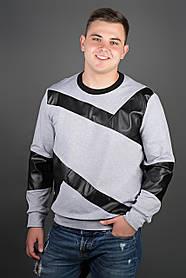 Мужская толстовка Эйстин комбинированная с кожей, цвет серый / размерный ряд 48-56