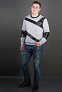 Мужская толстовка Эйстин комбинированная с кожей, цвет серый / размерный ряд 48-56, фото 2