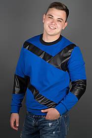 Мужская толстовка Эйстин комбинированная с кожей, цвет электрик / размерный ряд 48-56