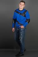 Мужская толстовка Эйстин комбинированная с кожей, цвет электрик / размерный ряд 48-56, фото 2