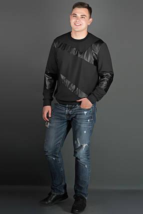 Мужская толстовка Эйстин комбинированная с кожей, цвет черный / размерный ряд 48-56, фото 2