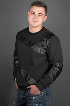 Мужская толстовка Эйстин комбинированная с кожей, цвет черный / размерный ряд 48-56
