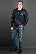 Мужская толстовка Эйстин комбинированная с кожей, цвет синий / размерный ряд 48-56, фото 2
