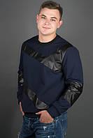 Мужская толстовка Эйстин комбинированная с кожей, цвет синий / размерный ряд 48-56