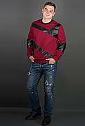 Мужская толстовка Эйстин комбинированная с кожей, цвет красный / размерный ряд 48-56, фото 3