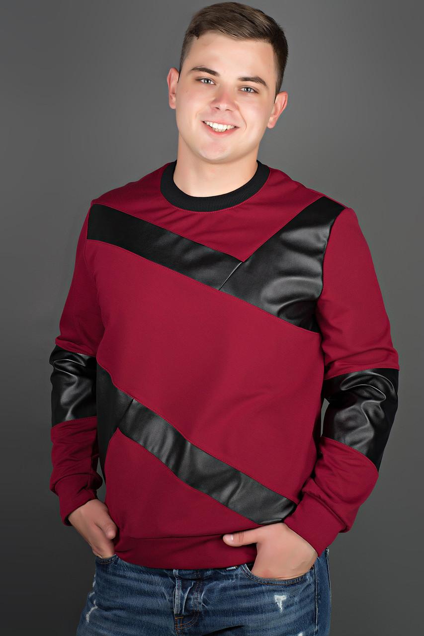 Мужская толстовка Эйстин комбинированная с кожей, цвет красный / размерный ряд 48-56