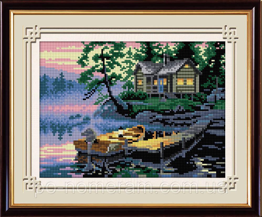 Картина из страз Dream Art Причал (квадратные камни, полная зашивка) (DA-30325) 22 х 31 см (Без подрамника)
