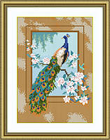 Картина из мозаики Dream Art Павлин (квадратные камни, полная зашивка) (DA-30327) 23 х 32 см