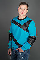 Мужская толстовка Эйстин комбинированная с кожей, цвет бирюза / размерный ряд 48-56