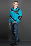 Мужская толстовка Эйстин комбинированная с кожей, цвет бирюза / размерный ряд 48-56, фото 2