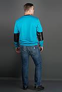 Мужская толстовка Эйстин комбинированная с кожей, цвет бирюза / размерный ряд 48-56, фото 3