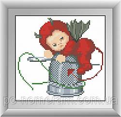 Картина из мозаики Dream Art Чертенок с наперстком (квадратные камни, полная зашивка) (DA-30370) 18 х 19 см (Без подрамника)