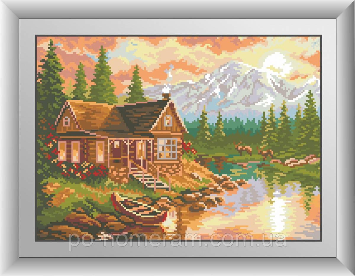 Картина из страз Dream Art Вечер в горах (квадратные камни, полная зашивка) (DA-30397) 31 х 43 см (Без подрамника)