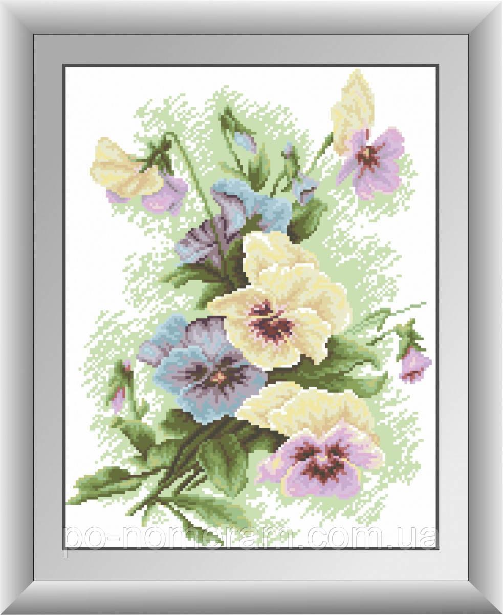 Картина алмазная вышивка Dream Art Букет анютиных глазок (квадратные камни, полная зашивка) (DA-30400) 34 х 44 см (Без подрамника)