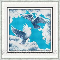 Картина алмазная вышивка Dream Art Голуби (квадратные камни, полная зашивка) (DA-30408) 40 х 40 см