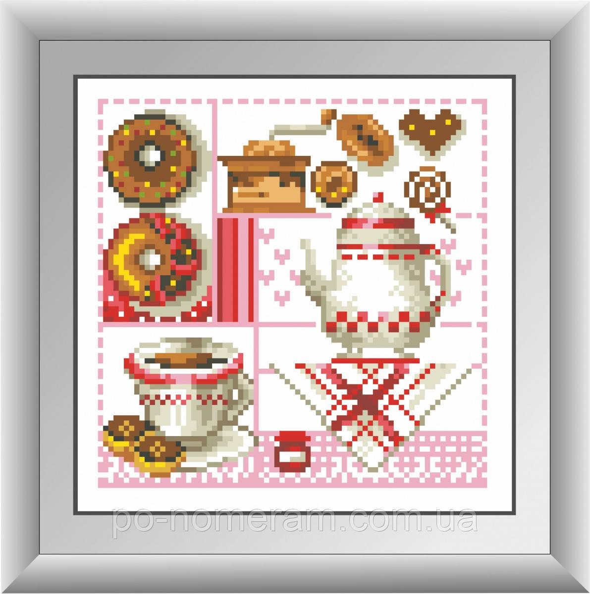 Алмазная вышивка Dream Art Кофе и пончики (квадратные камни, полная зашивка) (DA-30422) 21 х 21 см (Без подрамника)