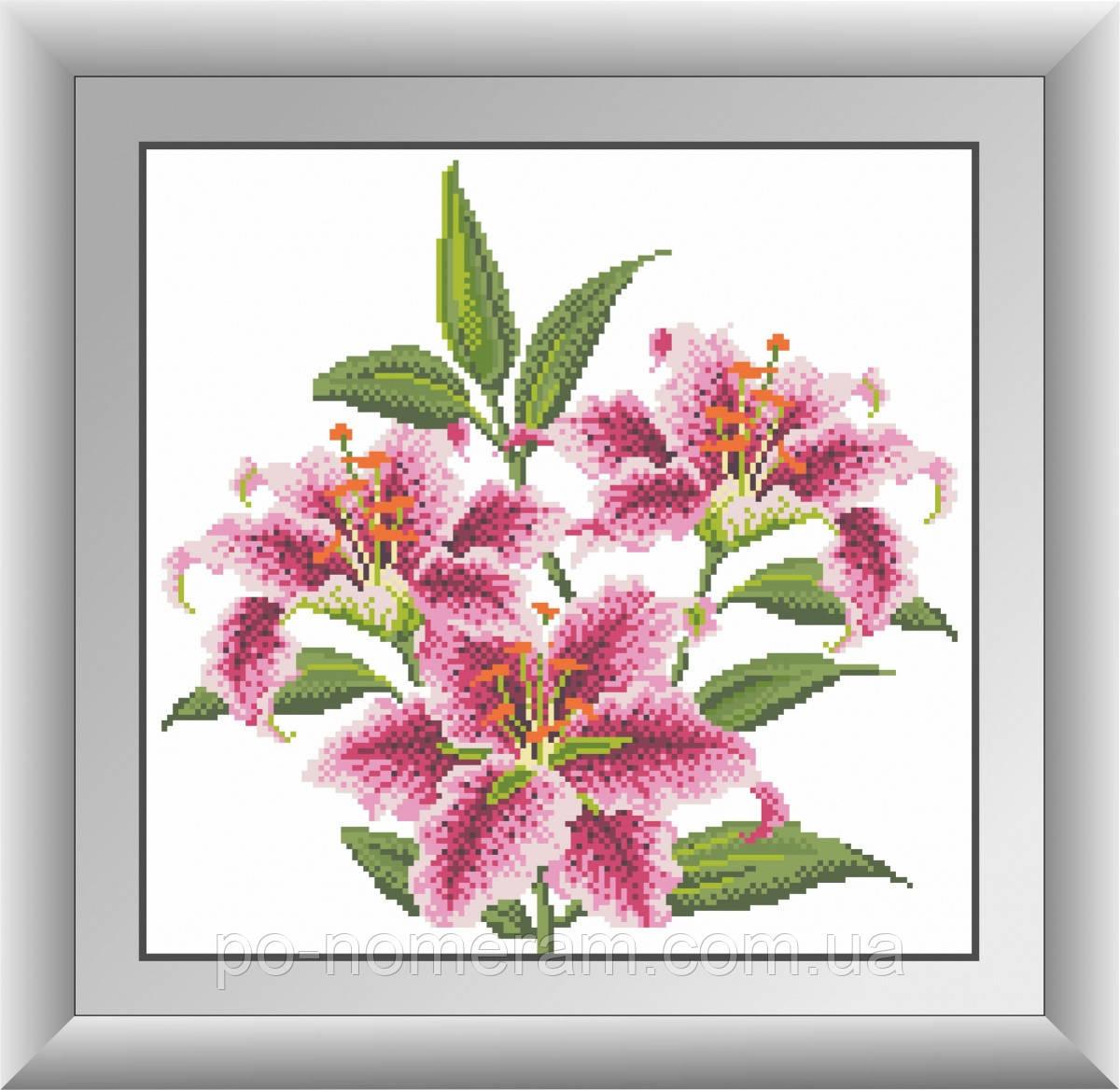 Картина алмазная вышивка Dream Art Розовые лилии (квадратные камни, полная зашивка) (DA-30420) 36 х 37 см (Без подрамника)