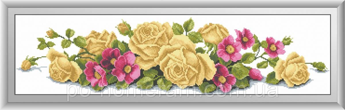 Картина из страз Dream Art Розы с шиповником (квадратные камни, полная зашивка) (DA-30449) 21 х 84 см (Без подрамника)