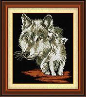 Алмазная живопись Dream Art Волчица с волчонком (квадратные камни, полная зашивка) (DA-30446) 33 х 41 см