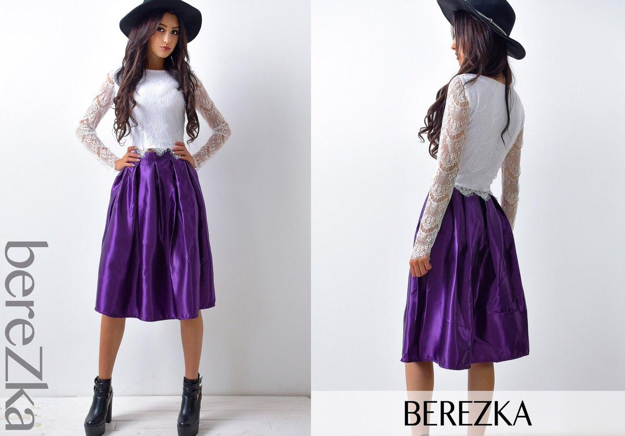 Костюм женский стильный кружевной топ и атласная юбка миди разные цвета  6Kb563 9e41462641b