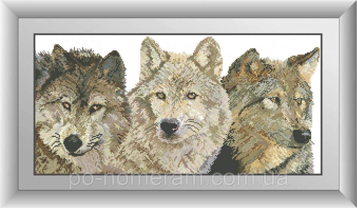 Картина алмазная вышивка Dream Art Три волка (квадратные камни, полная зашивка) (DA-30462) 33 х 68 см (Без подрамника)