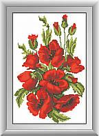 Алмазная вышивка Dream Art Цветущие маки (квадратные камни, полная зашивка) (DA-30474) 29 х 44 см